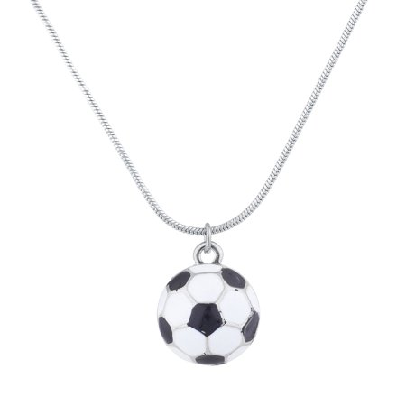 26' Navy Sport Necklace - Lux Accessories SilverTone Soccer Ball Mom Sports Novelty Pendant Necklace