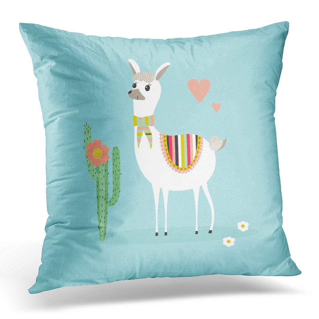 USART Alpaca Llama Cute Lama and Cactus on Blue Kids in Mexican America Pillow Case Cushion Cover 18x18 Inches