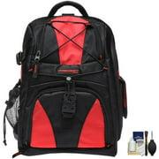 Precision Design Multi-Use Laptop/Tablet Digital SLR Camera Backpack Case (Black/Red) with Cleaning Kit for Nikon D3100, D3200, D5100, D5200, D7000, D600 & D800