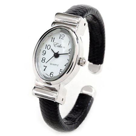 - Petite Design Black Silver Bangle Cuff Watch