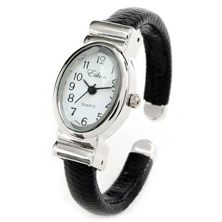 Petite Design Black Silver Bangle Cuff Watch