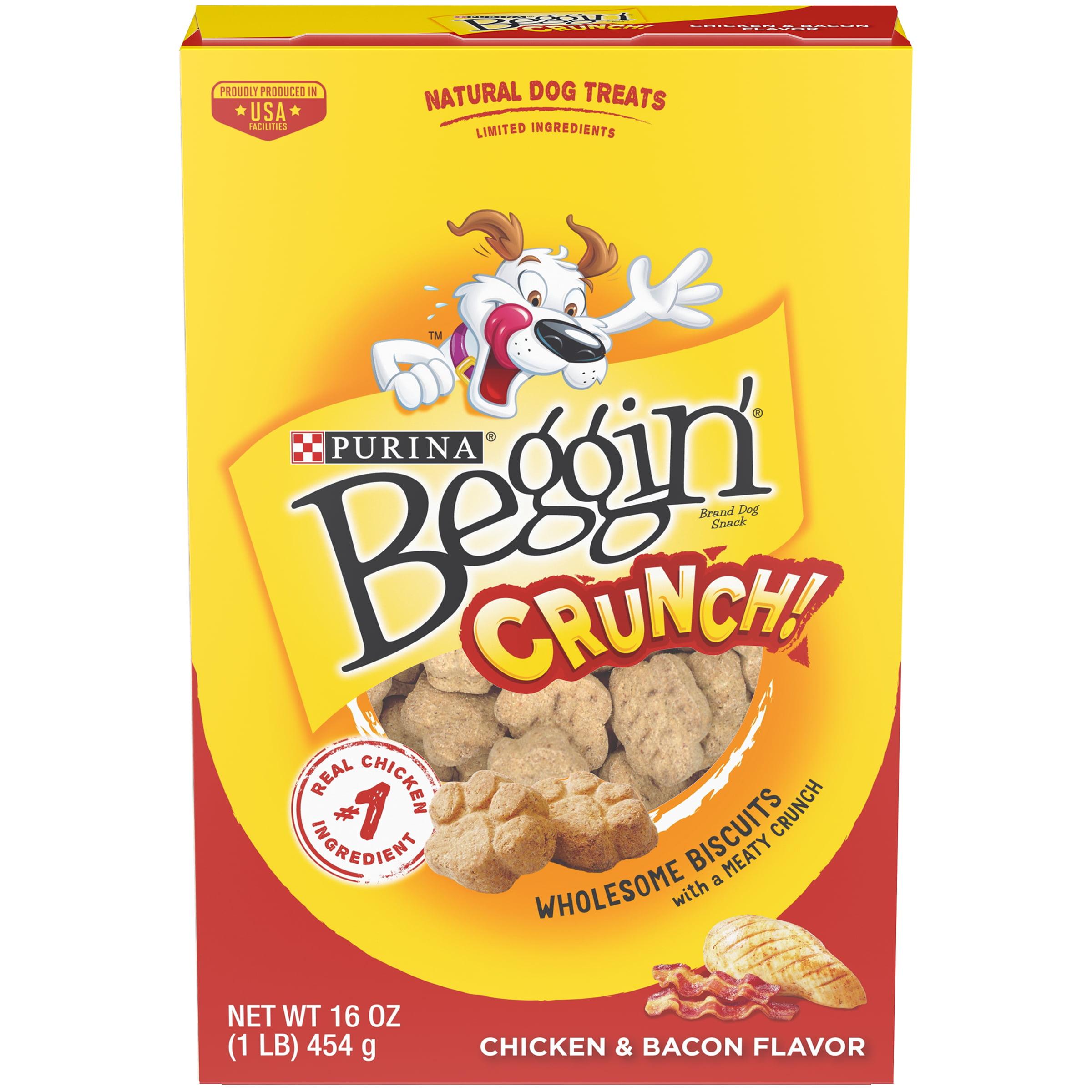 Purina Beggin' Crunch Chicken & Bacon Flavor Dog Treats 16 oz. Box