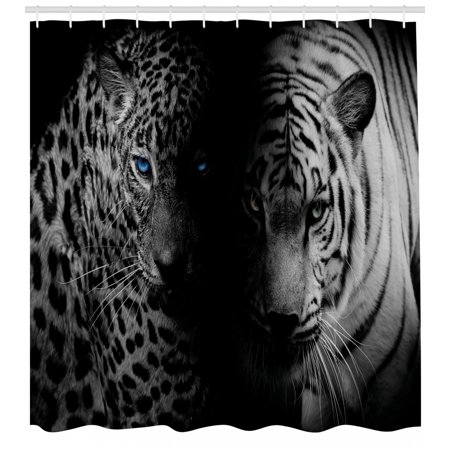 Black and White Shower Curtain, Leopards with Blue Eyes Aggressive Powerful Wildcat Profile Print, Fabric Bathroom Set with Hooks, Black White Blue, by Ambesonne ()