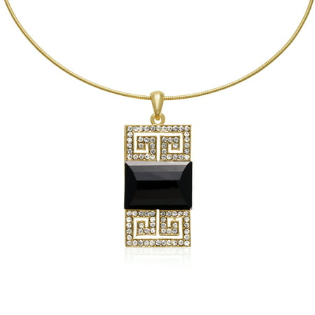 - Black Onyx and Gunmetal Crystal Emerald Shape Choker Necklace Gold Overlay