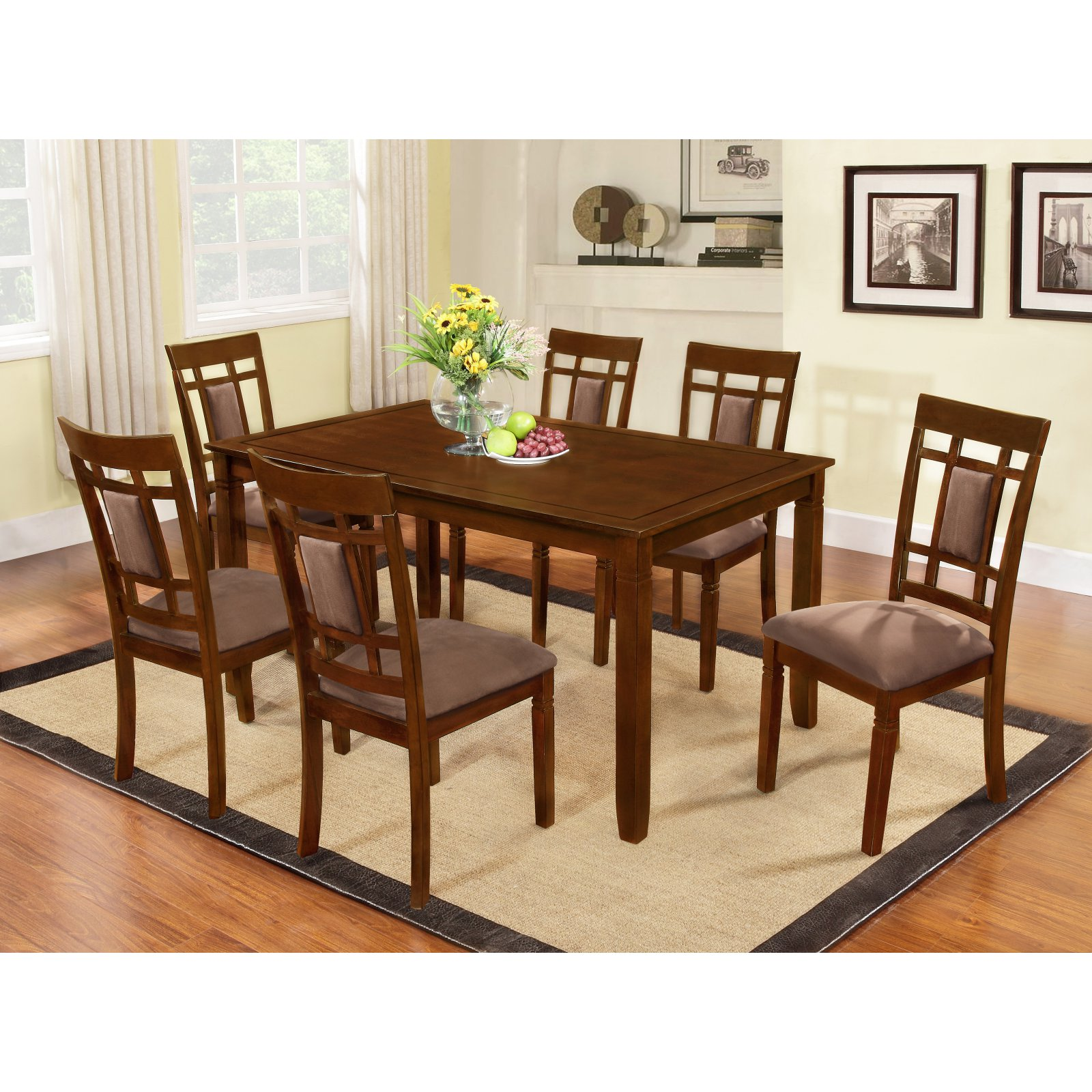 Roundhill Furniture Inworld 7 Piece Dining Table Set
