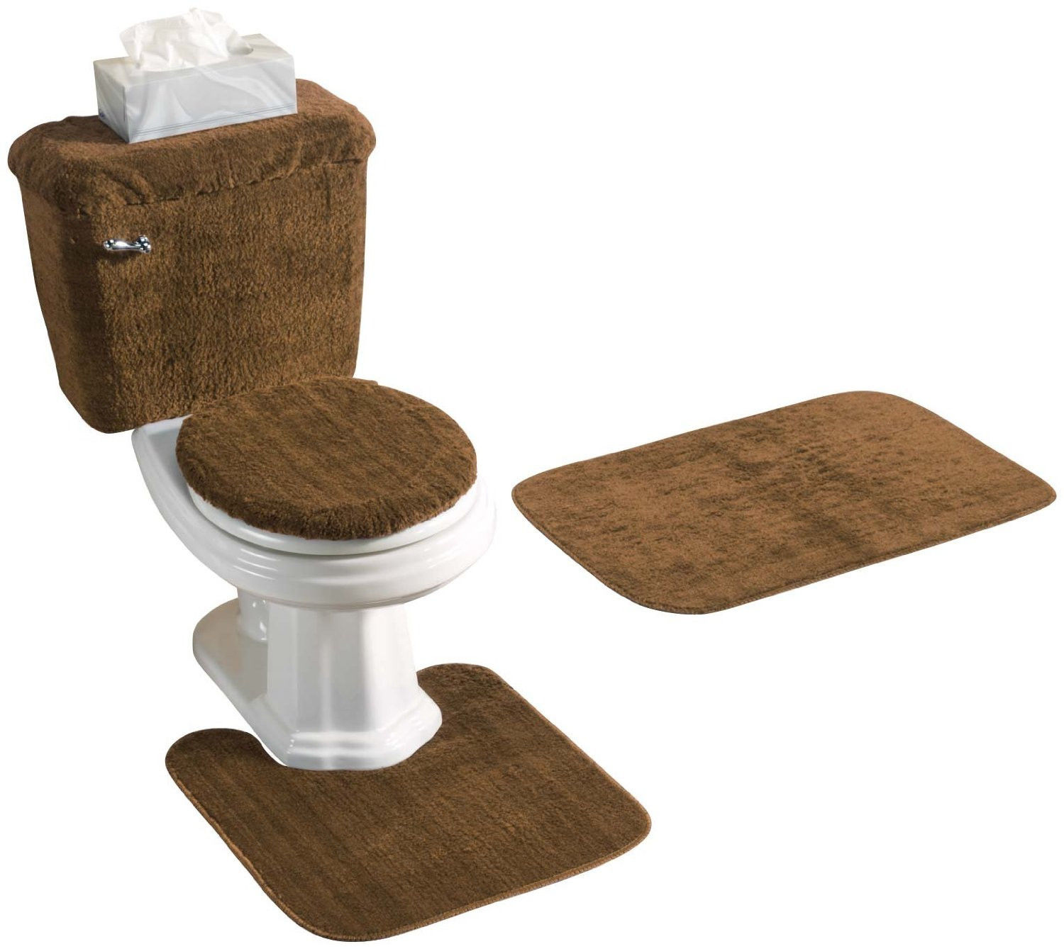 5 piece bath rug contour lid tank lid tank cover set brown walmartcom - Bathroom Rug Sets