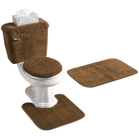Amazing 5 Piece Bath Rug Contour Lid Tank Lid Tank Cover Set Brown Cjindustries Chair Design For Home Cjindustriesco