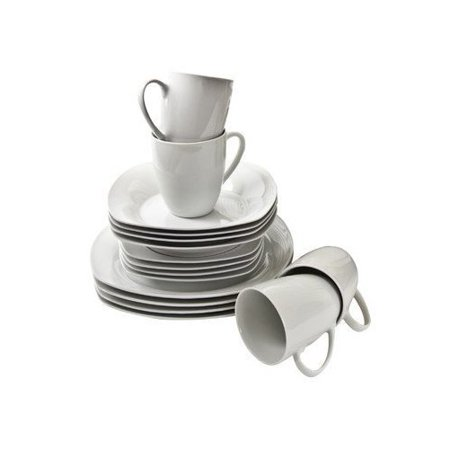 10 Strawberry Street Simply White Square 16-Piece Dinnerware Set