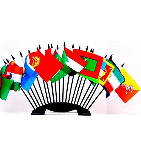SOUTH CENTRAL ASIA WORLD FLAG SET with BASE--20 Polyester 4