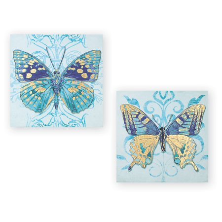 Squares Canvas Reproduction - Butterfly Décor Canvas Wall Art Set of 2 with Gold Accents, Square