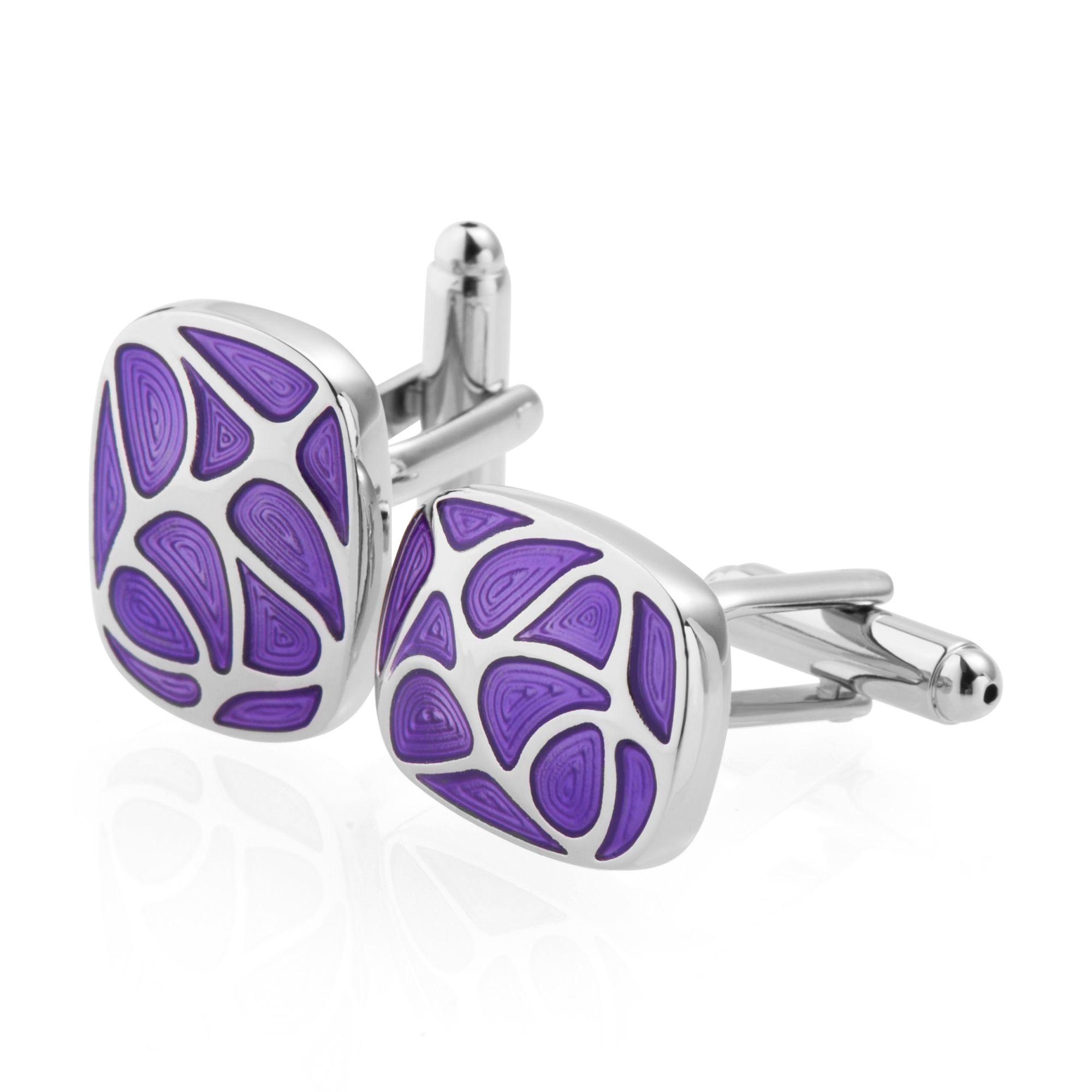 Cufflinks for men by Zodaca Fashion Mens Cufflink Business Wedding Stainless Steel Cuff Links Fingerprint - Purple/Silver