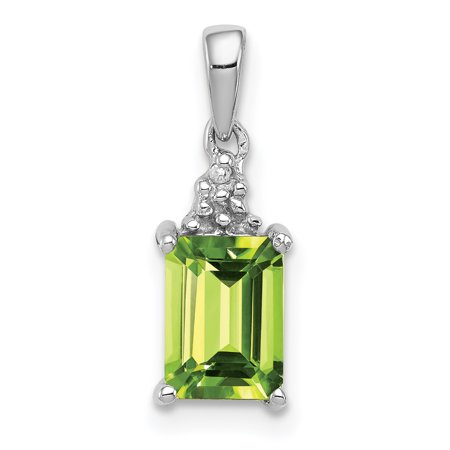 925 Sterling Silver Green Peridot Diamond Pendant Charm Necklace Gemstone Fine Jewelry Gifts For Women For Her - image 6 of 6