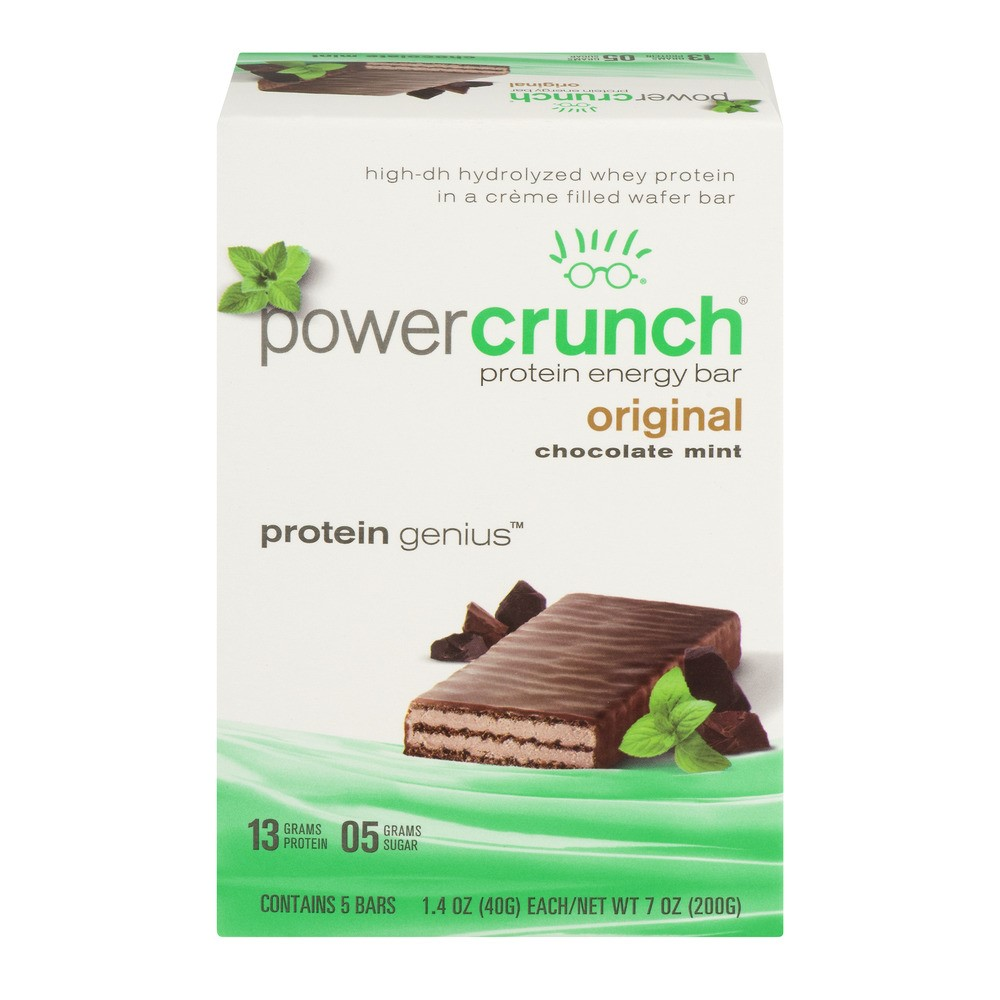 Power Crunch Bar, 13 Grams of Protein, Chocolate Mint, 1.4 Oz, 5 Ct