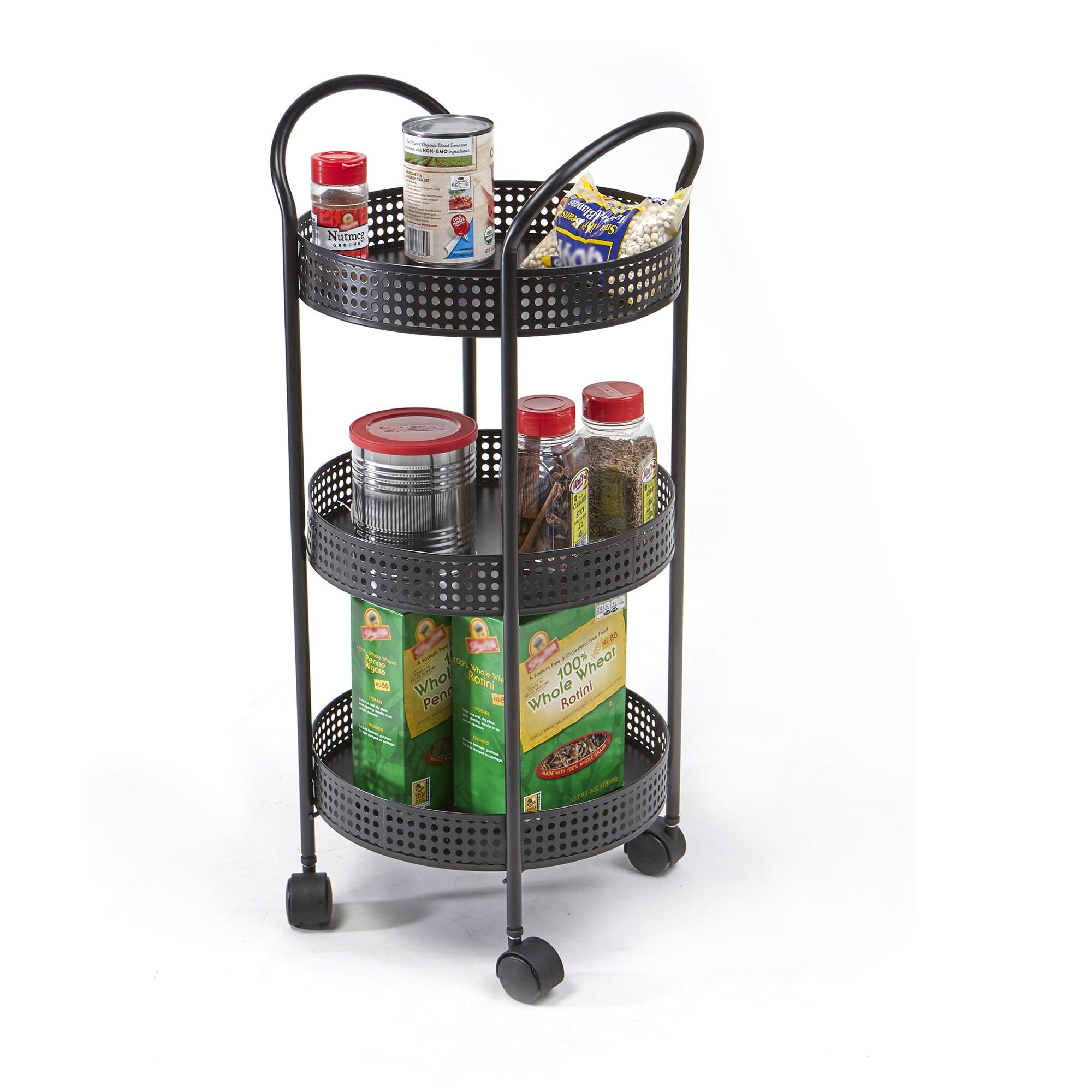 Mind Reader 3 Tier Metal All Purpose Kitchen Cart with Wheels, Black