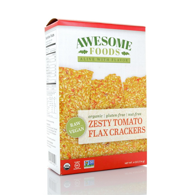 Awesome Foods Zesty Tomato Flax Crackers, 4oz by Awesome Foods