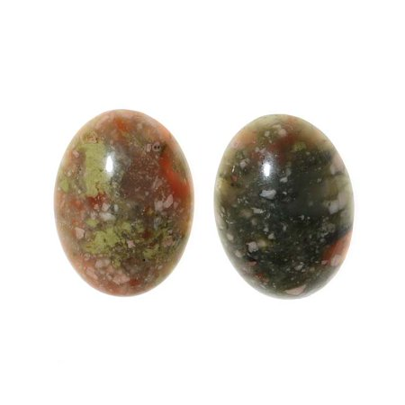 Chinese Unakite Oval Gemstone Flat-Back Cabochons 18x13mm (2 Pieces)