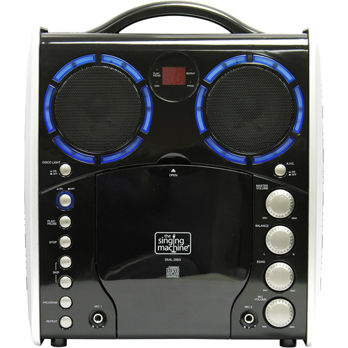 Singing Machine SML383 Portable Plug and Play CD+G Karaoke System with Microphone