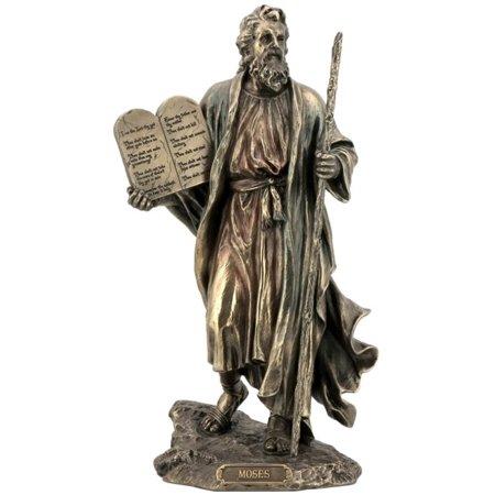 Child Bronze Figurine - 9.75 Inch Moses Holding The 10 Commandments Cold Cast Bronze Figurine