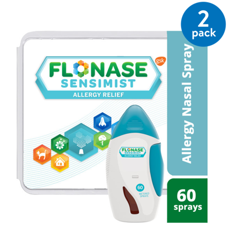 (2 pack) Flonase Sensimist 24hr Allergy Relief Nasal Spray, Gentle Mist, Scent-Free, 60 sprays