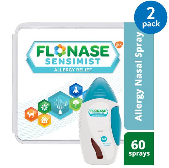 (2 pack) Flonase Sensimist 24hr Allergy Relief Nasal Spray, Gentle Mist, Scent-Free, 60 sprays