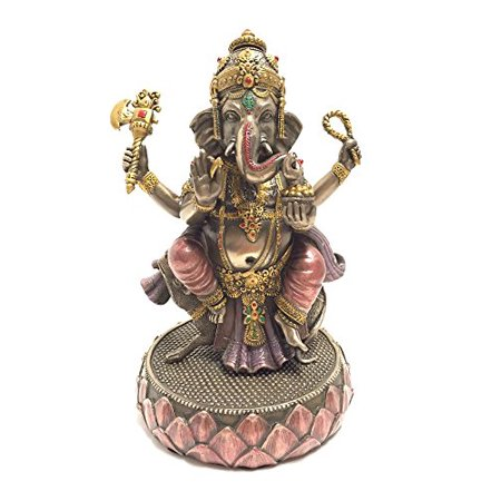 Ganesh (Ganesha) Sitting on Mouse Hindu God of Success Statue Sculpture