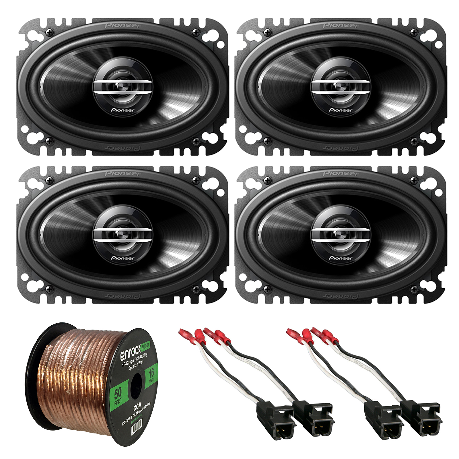 "2 x Pioneer TSG4620S 4x6"" 2-Way 200W Car Speakers (2 pairs), 2 x Metra 72-4568 Speaker Wire Harness for Select GM Vehicles, Enrock Audio 16-Gauge 50 Foot Speaker Wire"