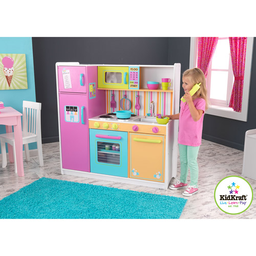 KidKraft Deluxe Big & Bright Wooden Play Kitchen with 3 Piece Accessories
