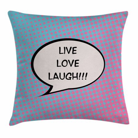 Live Laugh Love Decor Throw Pillow Cushion Cover, Pop Art Comic Book Style Halftone Dots Backdrop Speech Balloon Text, Decorative Square Accent Pillow Case, 16 X 16 Inches, Multicolor, by Ambesonne - Comic Book Decor