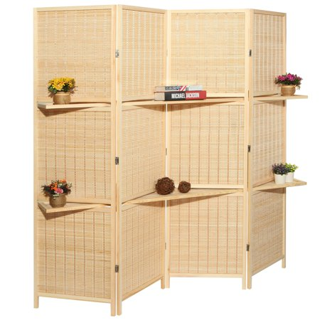 4-Panel Deluxe Woven Beige Bambo Folding Room Divider Screen w/ Removable Storage Shelves ()