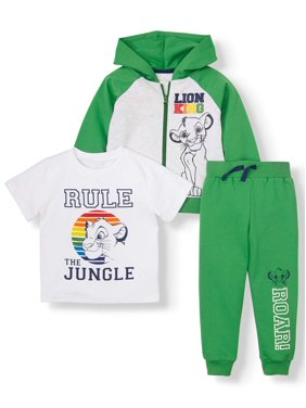 The Lion King Toddler Boys Zip Up Hoodie, Short Sleeve Graphic T-shirt & Drawstring Jogger Pant, 3pc Outfit Set
