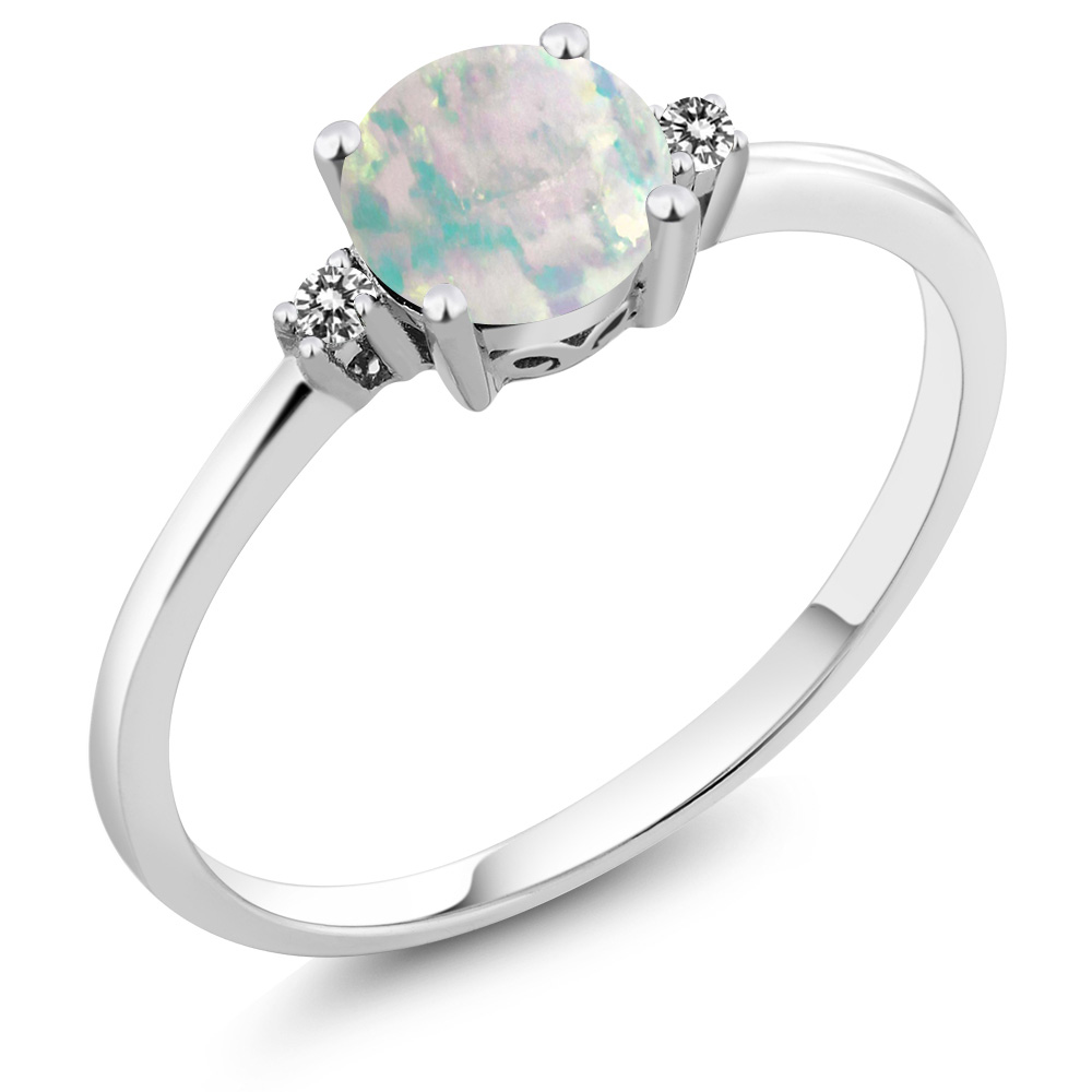 10K White Gold Diamond Accent Ring Round White Simulated Opal (0.33 cttw) by