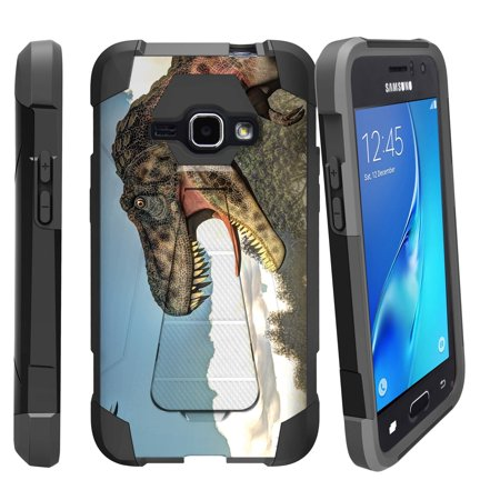 Case for Samsung Galaxy J7 | J700 [ Shock Fusion ] Hybrid Layers and Kickstand Case Dino Collection