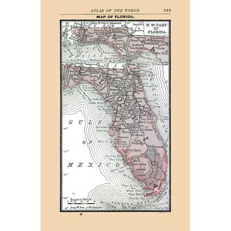 Old State Map - Florida - Alden 1886 - 23 x 35.49 - Walmart.com