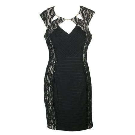 Sangria Petite Black Banded Lace Cutout Dress 10P