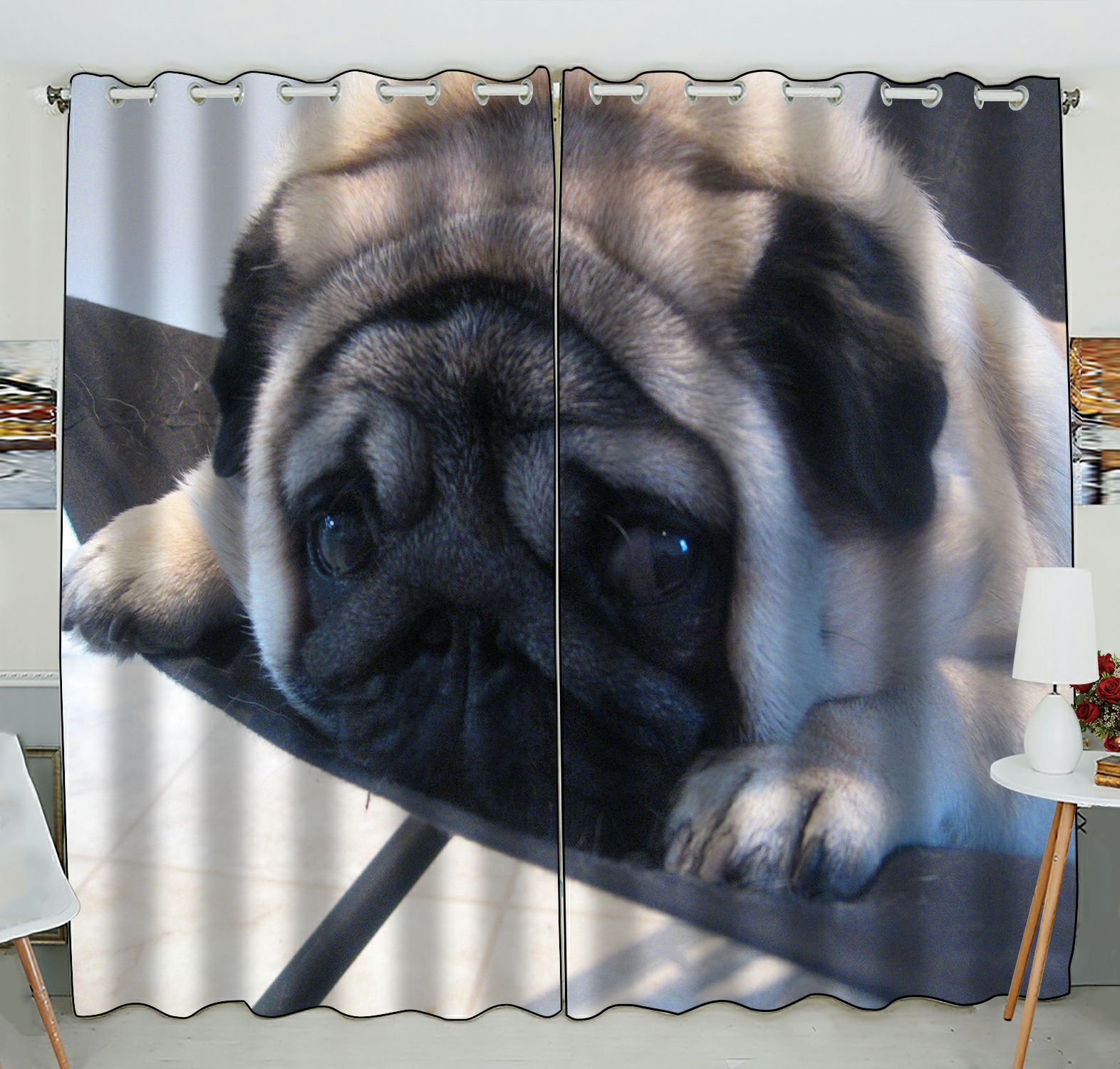 ZKGK Pug Puppy Window Curtain Drapery/Panels/Treatment For Living Room Bedroom Kids Rooms 52x84 inches Two Panel