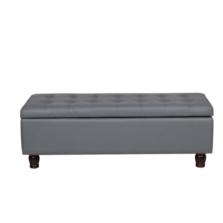 Peachy Us Pride Furniture Volume Button Tufted Bonded Leather Storage Ottoman Bench Gray Theyellowbook Wood Chair Design Ideas Theyellowbookinfo