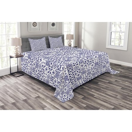 Indigo And White Bedspread Set Geometric Pattern Portuguese Azulejo