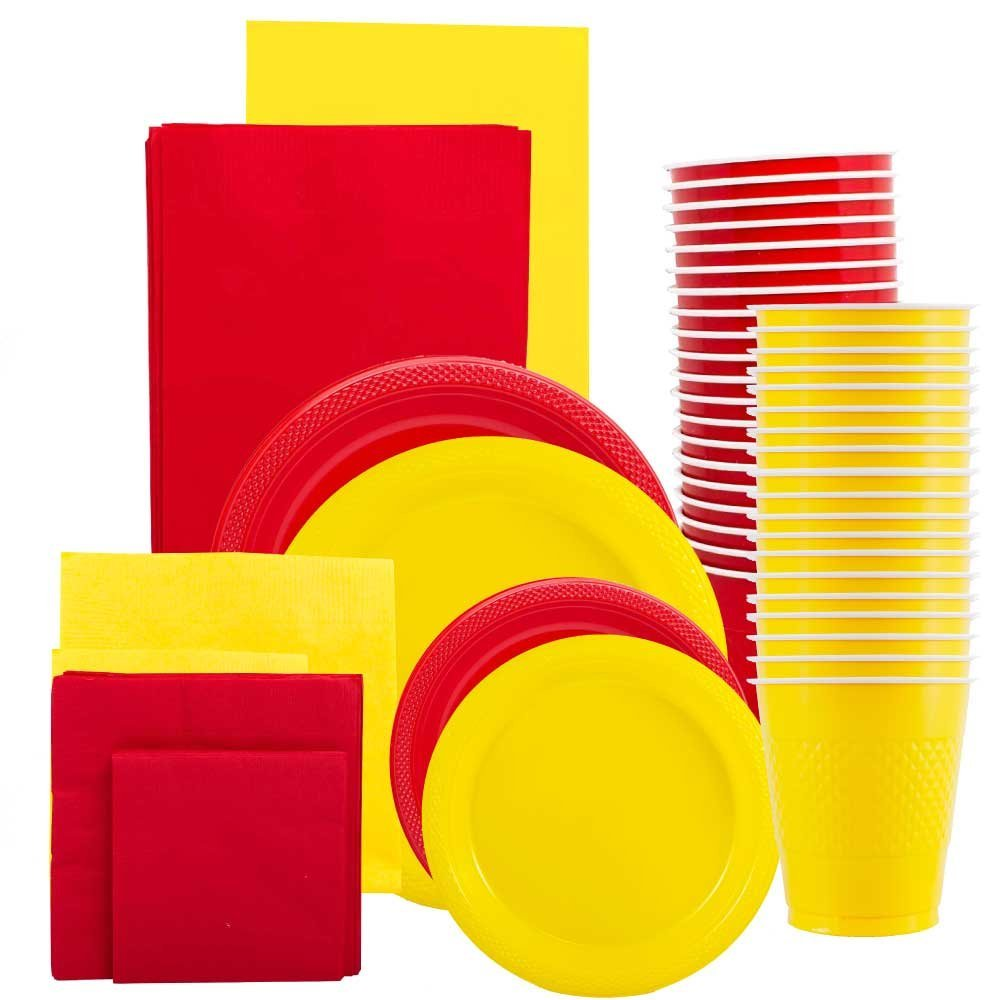 JAM Paper® Party Supply Assortment, Red & Yellow Grad Pack, Plates (2 Sizes), Napkins (2 Sizes) , Cups & Tablecloths, 12/pack