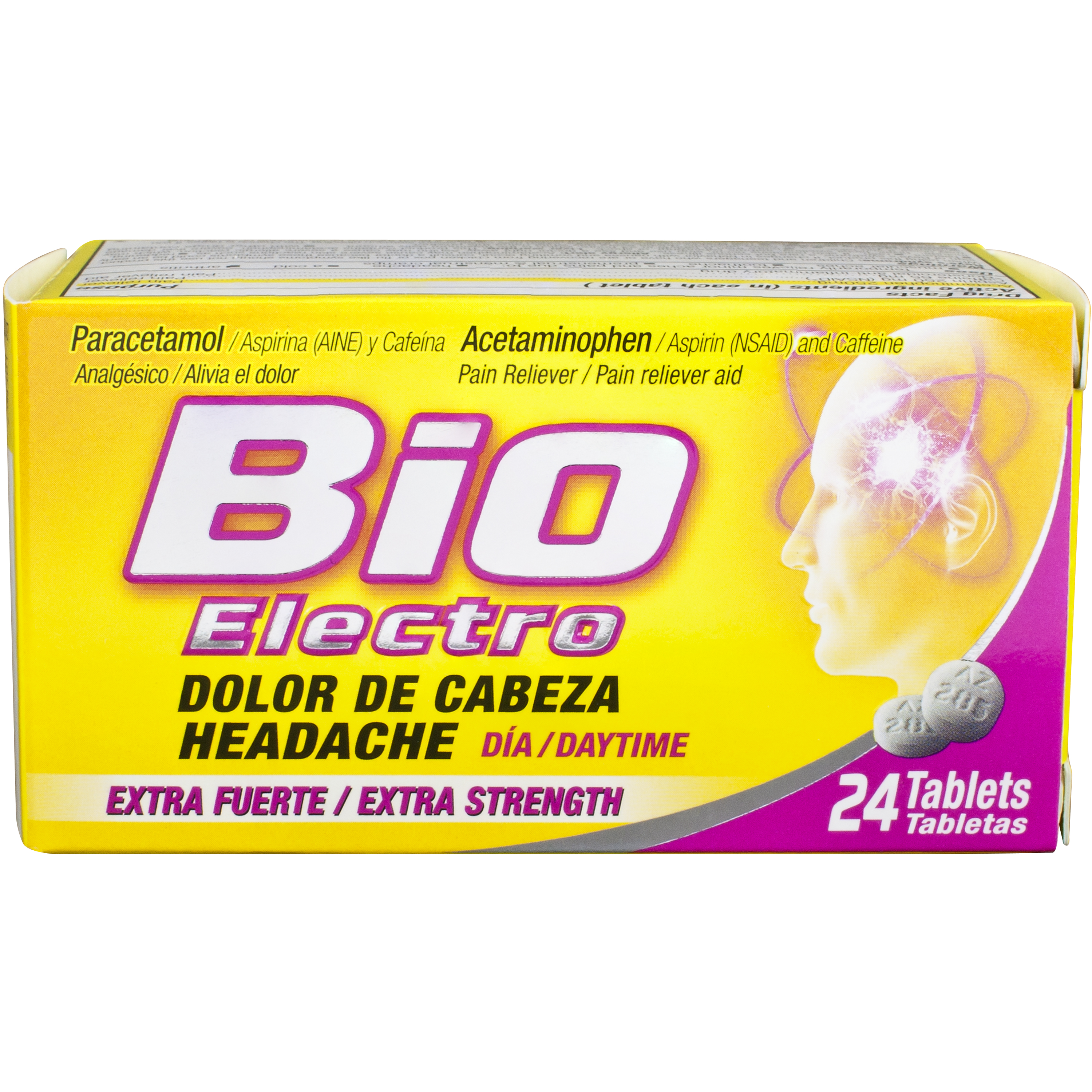 Bio Electro Extra Strength Pain Reliever, Acetaminophen / Aspirin (NSAID) and Caffeine, 24 caplets