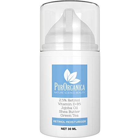 PurOrganica Retinol Cream – Premium Moisturizer with 2.5% Retinol, Vitamin E+B5, Jojoba and Shea Butter - BEST Anti Aging Facial & Neck Firming Cream for Wrinkles, Fine Lines, Acne and Dark Spots