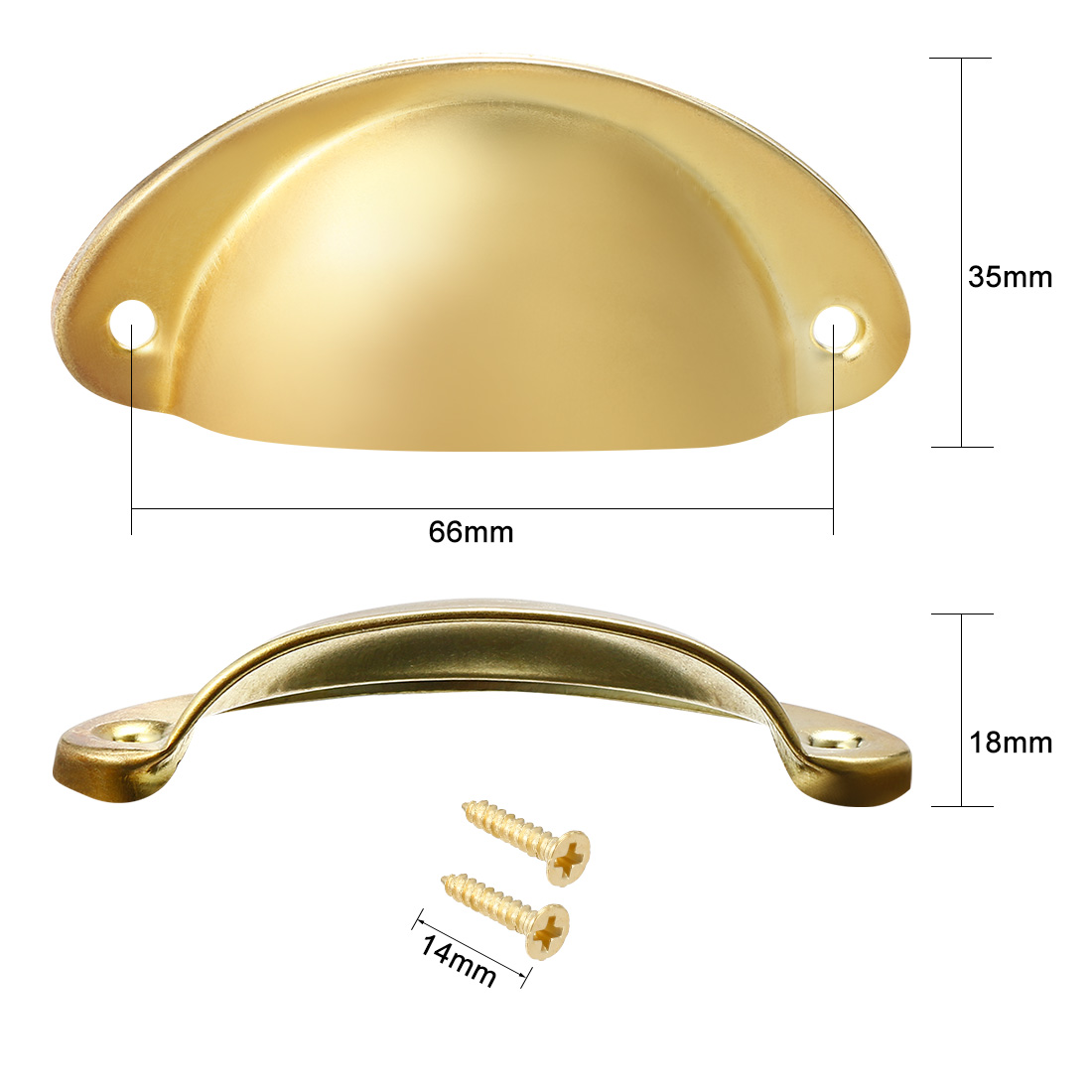 10pcs Cup Drawer Pull Kitchen Cabinet Handle Gold Tone 66mm Hole Centers