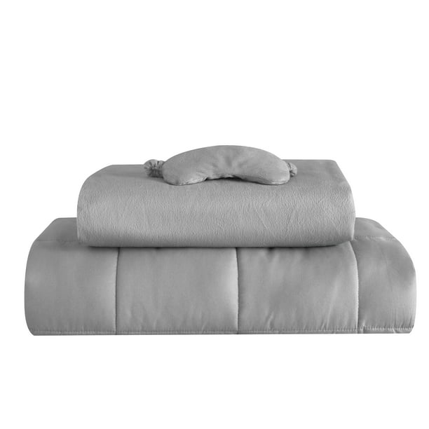 Well Being 3 Piece Weighted Blanket Set - Includes 20 LB Weighted Blanket, Duvet Cover and Eyemask