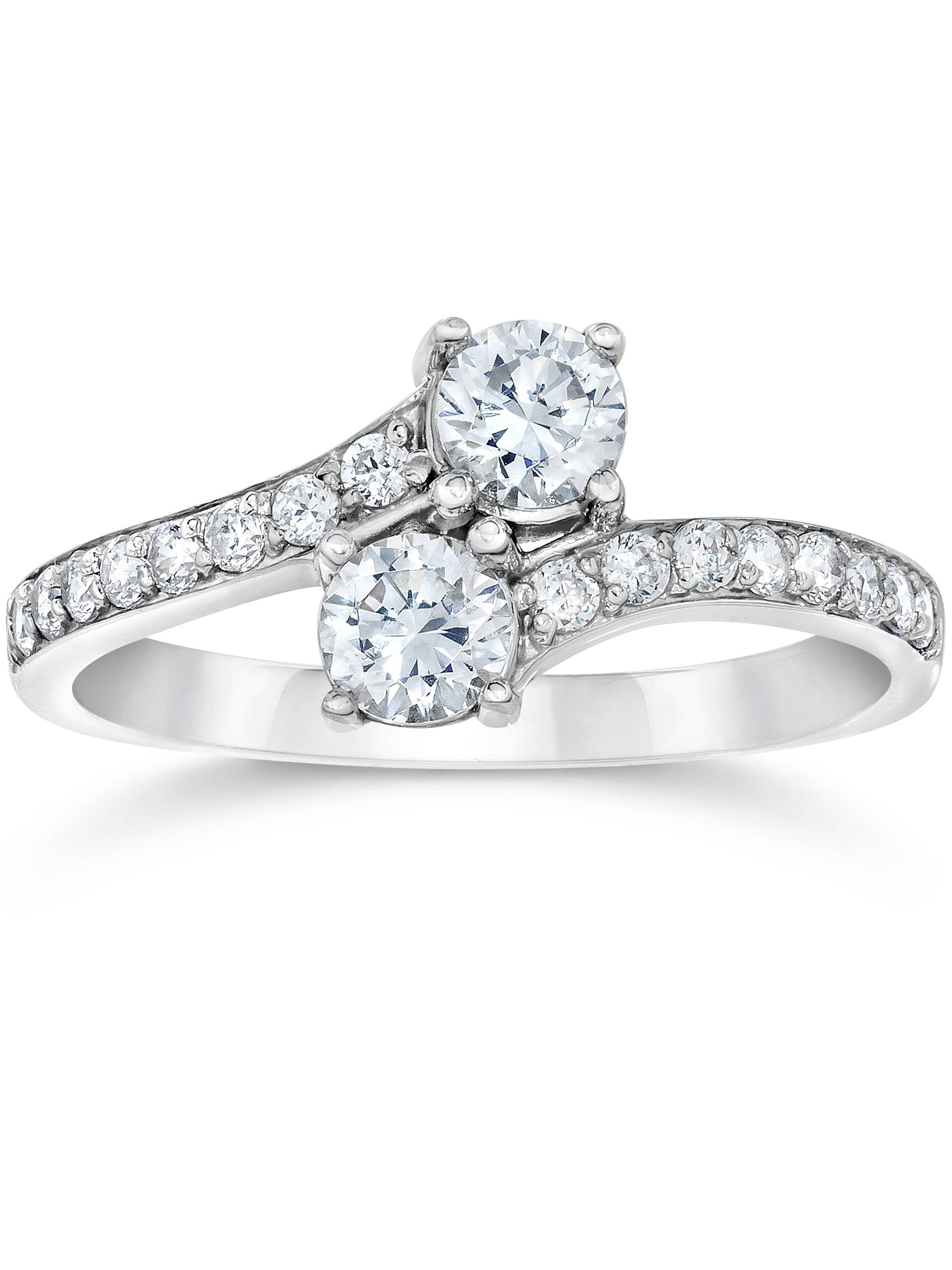 ea5f454a07d85d Pompeii3 - SI1/G Forever Us Two Stone Round Diamond 1.00 Ct Solitaire Ring  14k White Gold - Walmart.com