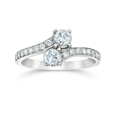 Pompeii3 1 Carat Forever Us Round Solitaire Diamond Two Stone Ring 10K White - I1 White Gold Solitaire