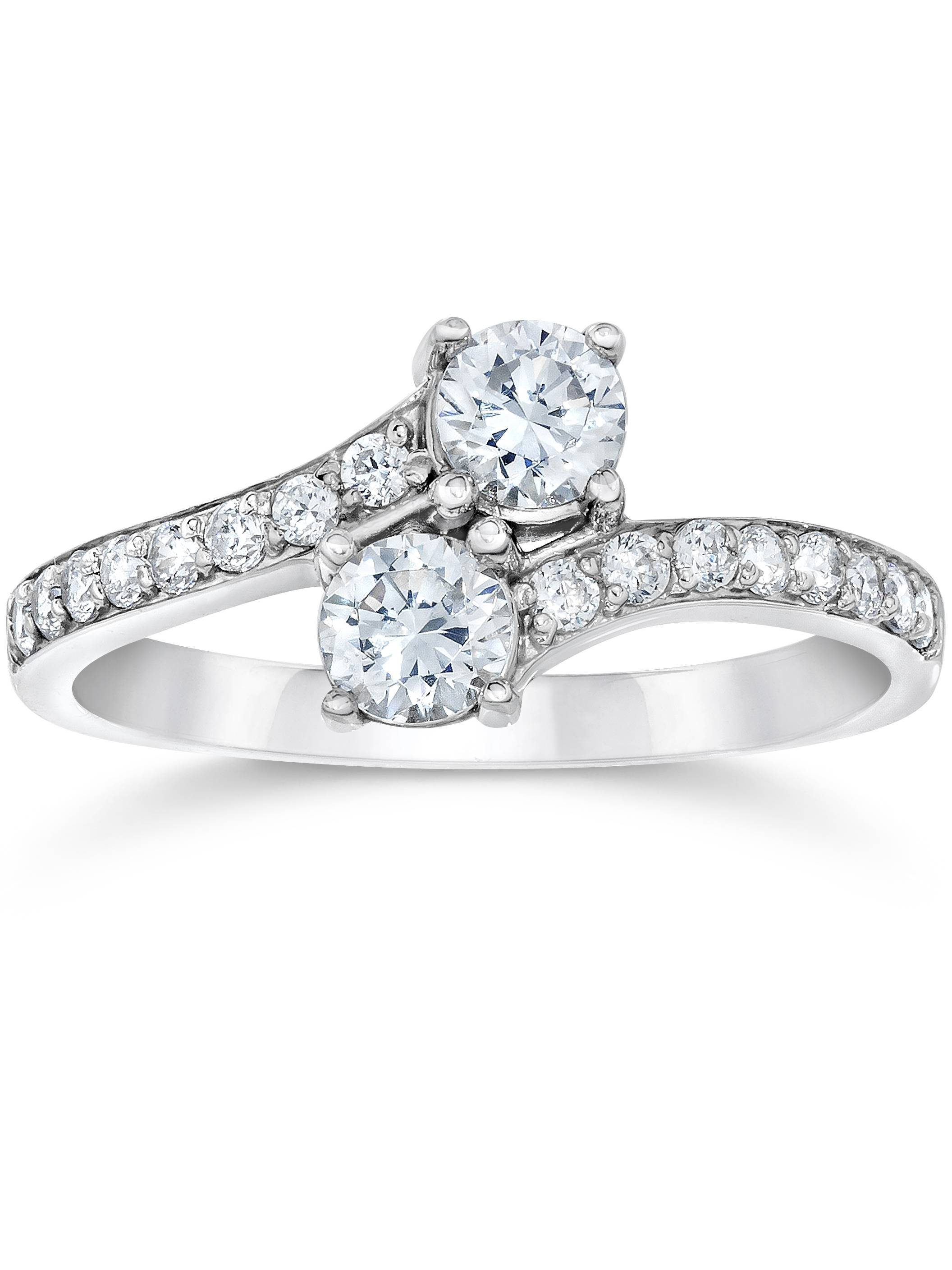G/SI 1.00 Ct Forever Us Two Stone Round Diamond Engagement Ring 10k White Gold