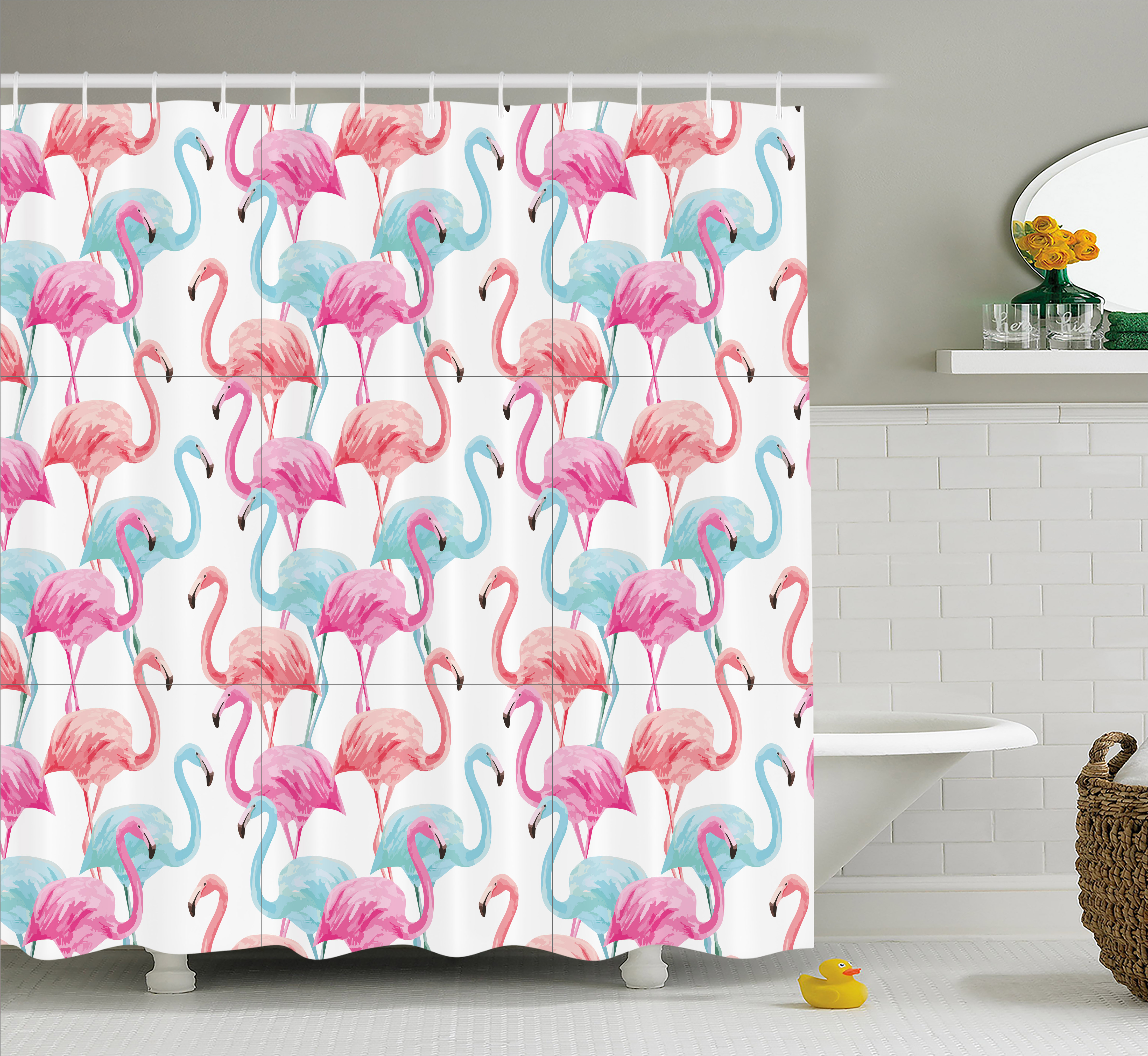 Watercolor Shower Curtain, Flamingos in Many Colors Hand Drawn Bird Exotic Animals Illustration, Fabric Bathroom Set with Hooks, 69W X 70L Inches, Baby Blue Salmon Pink, by Ambesonne
