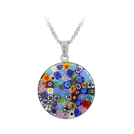 Murano Millefiori Flower Ring - Sterling Silver Millefiori Flower Murano Glass Circle Pendant