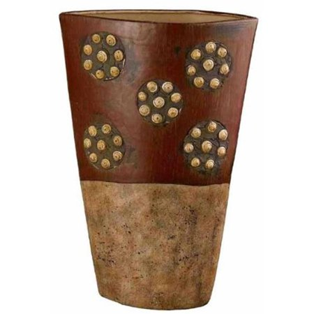 Roseville Tribal Ceramic Vase With Spiral Shell Accents, Extra Medium ()