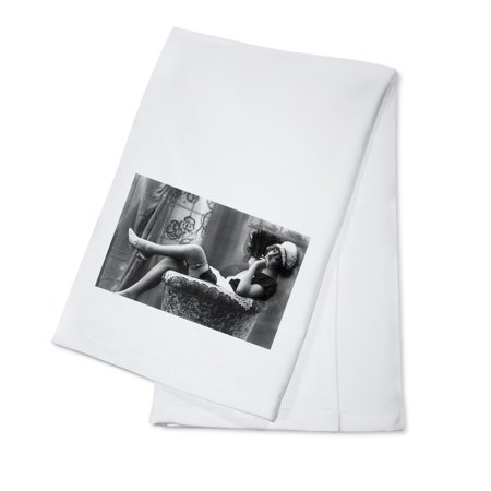 Pin-Up Girl in French Maid Outfit Smoking and Sitting- Vintage Photograph (100% Cotton Kitchen Towel) - Cheap Maid Outfits