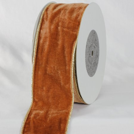 Amber Brown and Gold Colored Woven Edge Soft Velvet Ribbon 3